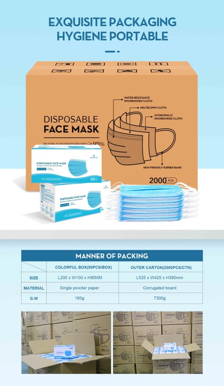 FDA CE Protective Disposable 3 Ply Face Mask