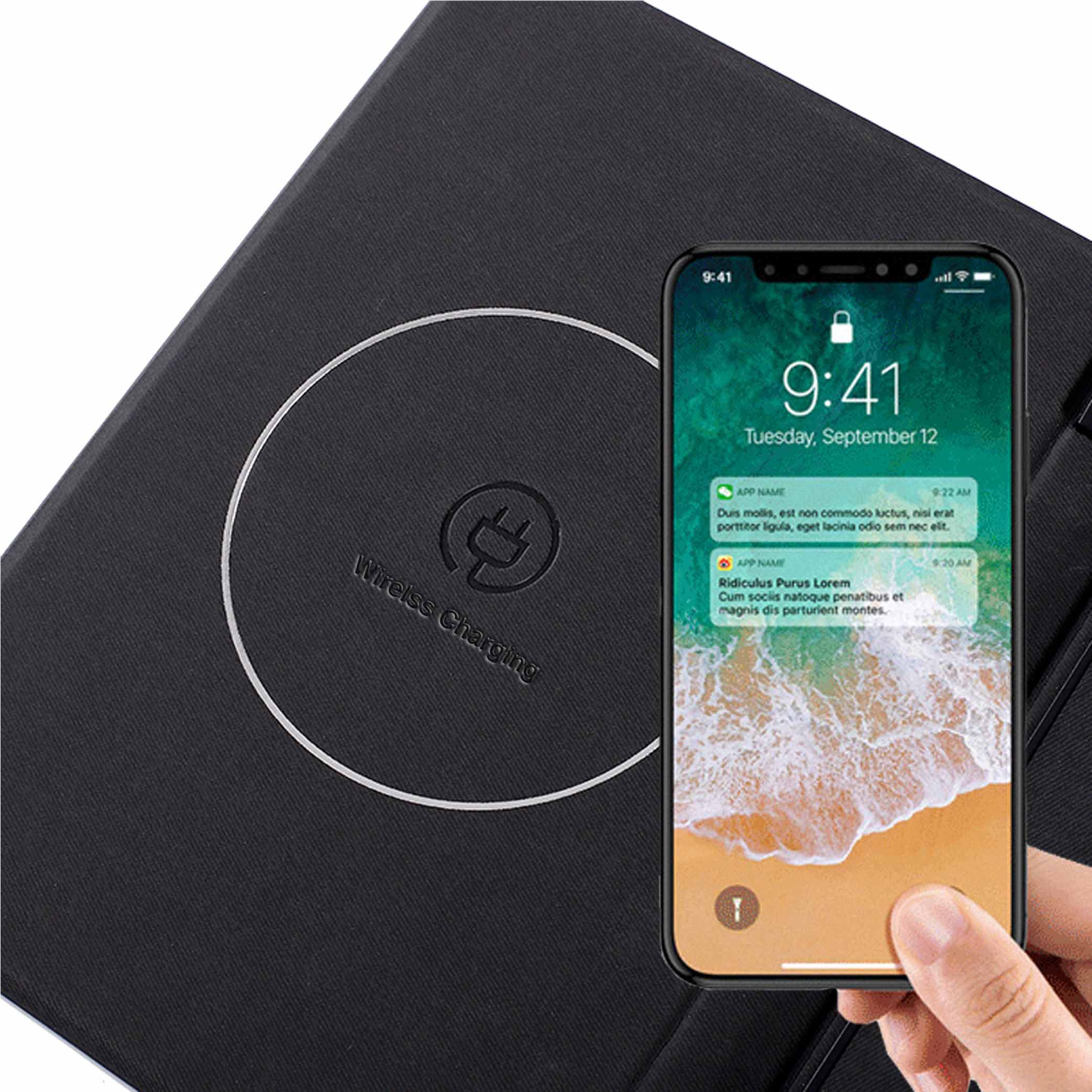 Wireless Charging Portfolio w/ USB Flash Drive for iPad /iPhone /Android