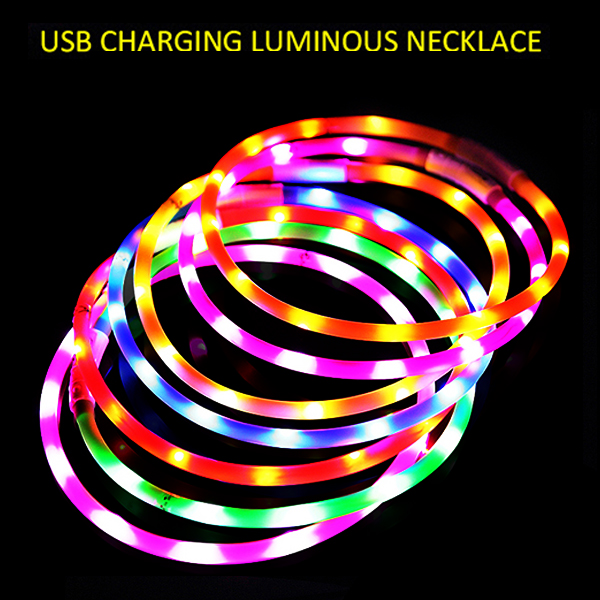 USB Rechargeable Waterproof Luminous Silicone LED Dog Collar