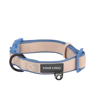 Classic Neoprene Dog Collar in Light Khaki
